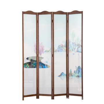 Solid Chinese Wooden Home Decor Indoor Folding Wood Privacy Screen Room Divider